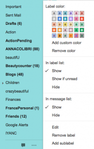 screenshot of custom colors for Gmail Labels