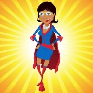 Super Woman Mother Cartoon with Yellow Background.