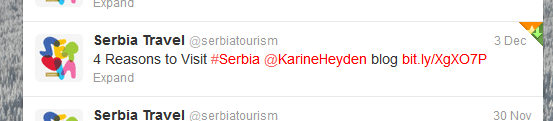 tweet by serbian travel