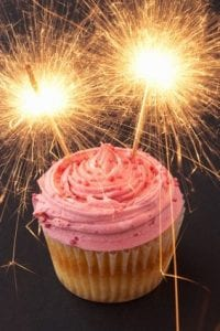 A cupcake with sparklers