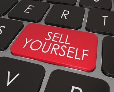 Sell Yourself Computer Keyboard Red Key Promotion Marketing