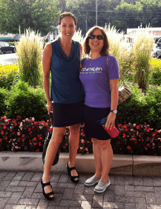 JWalking Designs' founders dressed in our active skirt - good for both work out and go out!