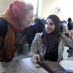 Hedvig Alexander with a second year jewelry and gem-cutting student in Kabul, Afghanistan