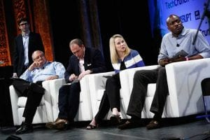 Marissa Mayer joins an otherwise all-male panel of judges at TechCrunch NY 2013. (Photo: Flickr/Magnus Hoij)