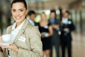 businesswoman at a networking conference
