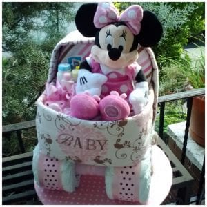 Minnie Mouse Bassinet diaper cake