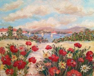 French Riviera Red Poppies Impressionist Oil