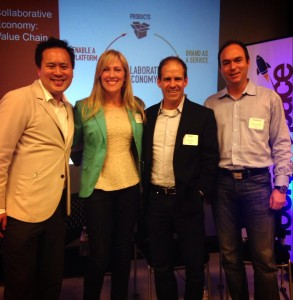 Michelle Regner with fellow panelists Jeremiah Owyang of Crowd Companies, Stephane Kasriel of oDesk and Brian Bell of Zuora, Inc.