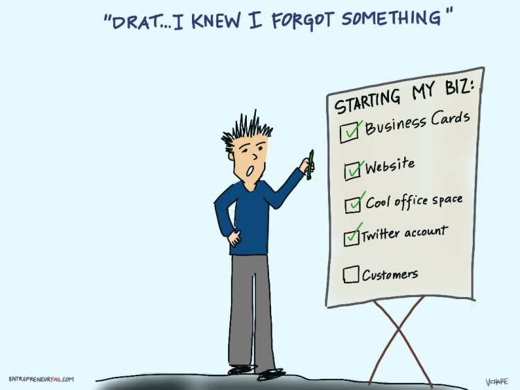 #entrepreneurfail Customer Acquisition Procrastination Missed Checklist