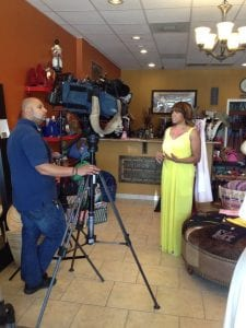 Pamela Ellis of Smahrt Girl Foundation being interviewed.