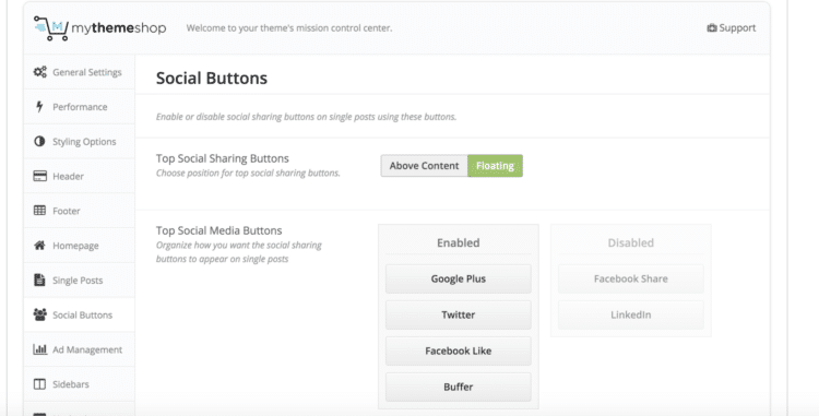 Social Media Options Demo via MyThemeShop