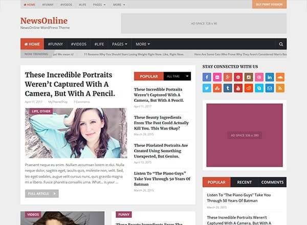 newsonline - 10 Great Themes for Your New Website